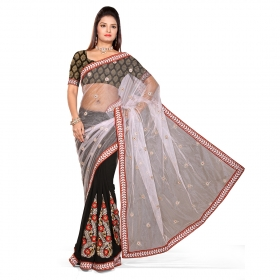 First Loot White And Black Color Nett & Chiffon Saree