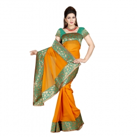 First Loot Mustard Color Chiffon Saree