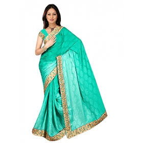 Sonaria Saree Presents Jade Chiffon Saree With Golden Border & Brocades