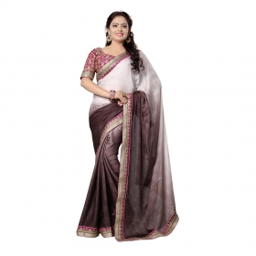 Grey Color Embroidered Party Wear Jacquard Saree
