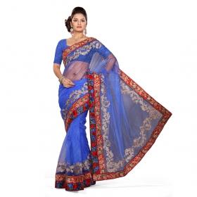 First Loot Royal Blue Color Net Saree
