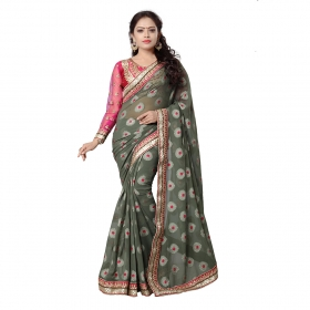 Grey Color Embroidered Party Wear Jacquard Brasso Saree