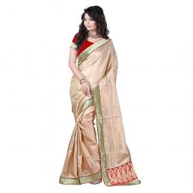 Beige Color Lace And Pallu Work Art Silk Saree