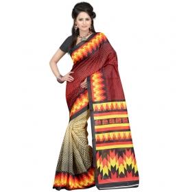 First Loot Printed Red Color Bhagalpuri Silk Saree