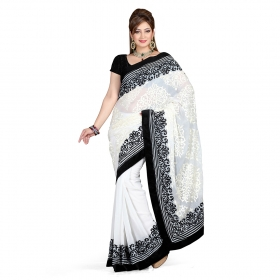 First Loot Off White Color Chiffon Saree