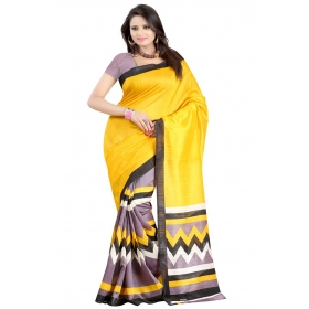 First Loot Printed Yellow Color Bhagalpuri Silk Saree