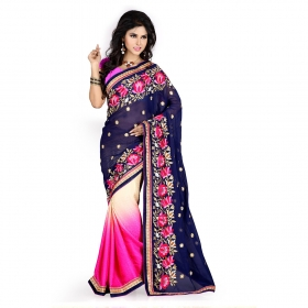 Blue And Rani Color Heavy Resham Zari Work Georgette And Jacquard Saree