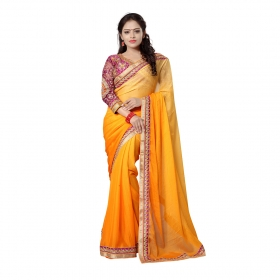 Orange Color Embroidered Party Wear Satin Jacquard Saree-