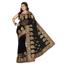 First Loot Black Color Net Saree