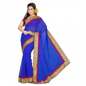 First Loot Royl Blue Color Chiffon Saree