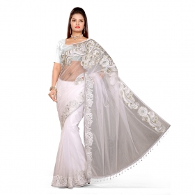 First Loot White Color Net Saree
