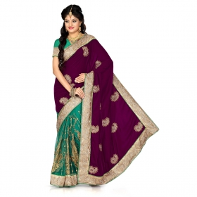 Firstloot Dark Fushia And Rama Green Velvet And Net Embroidered Saree