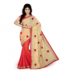 Chikooand Red Color Heavy Resham Zari Work Georgette And Jacquard Saree