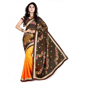 Coffee And Gold Color Heavy Resham Zari Work Georgette And Jacquard Saree