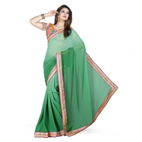 First Loot Green Color Georgette Saree