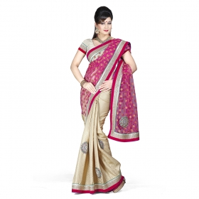 First Loot Rani And Beige Color Net Saree
