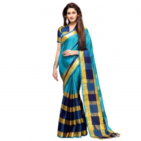 Skyblue & Golden Colour Cotton Silk Printed Saree With Unstitched Blouse Piece