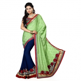 Green And Blue Color Heavy Resham Jari Work Jacquard And Chiffon Saree