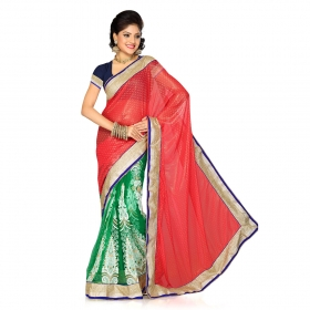 Firstloot Peach And Green Faux Georgette Butti And Net Embroidered Saree