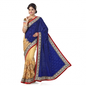 First Loot Blue And Beige Color Chiffon Saree