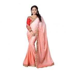 Pink Color Embroidered Party Wear Satin Jacquard Saree