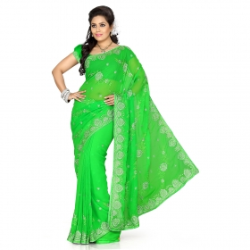 First Loot Green Color Chiffon Saree