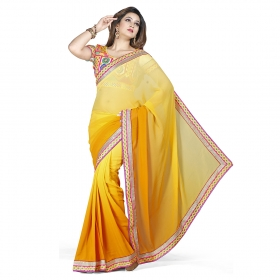 First Loot Yellow Color Georgette Saree