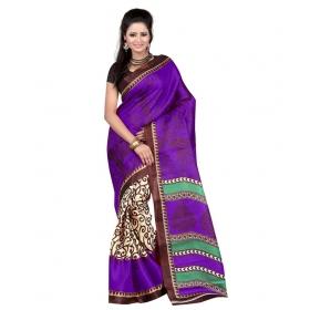 First Loot Printed Violet Color Art Silk Saree