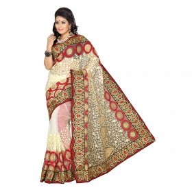 First Loot Beige Color Net Saree