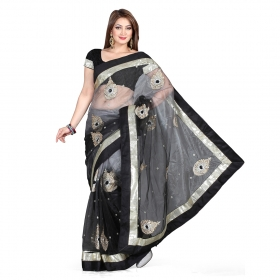 First Loot Black And Gray Color Net Saree