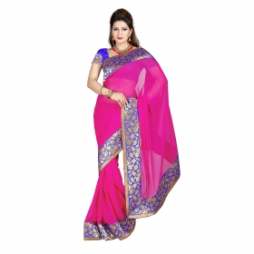 First Loot Pink Color Chiffon Saree
