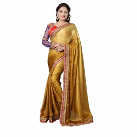Brown Color Embroidered Party Wear Satin Jacquard Saree