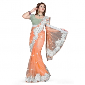 First Loot Peach Color Net Saree