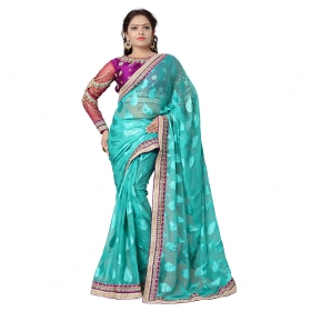 See Green Color Embroidered Party Wear Jacquard Brasso Saree