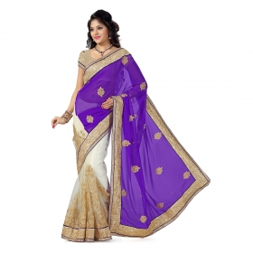 First Loot Purple And Cream Color Faux Georgette Saree