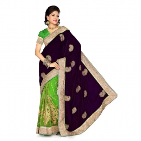 Firstloot Magenta And Green Velvet And Net Embroidered Saree
