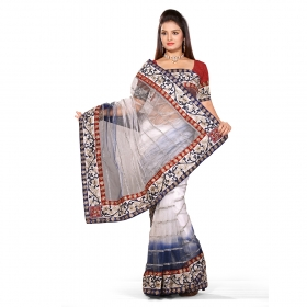First Loot White And Neavy Blue Color Net Saree