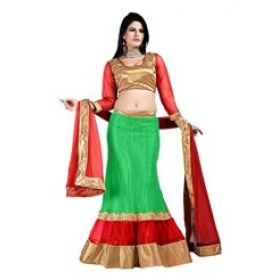Firstloot Green Designer Net Lehenga