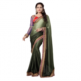 Dark Green Color Embroidered Party Wear Satin Jacquard Saree