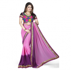 First Loot Pink And Purple Color Georgette Saree