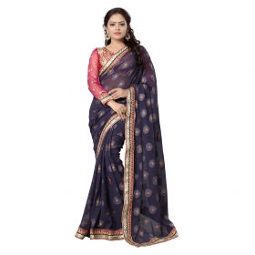 Blue Color Embroidered Party Wear Jacquard Brasso Saree