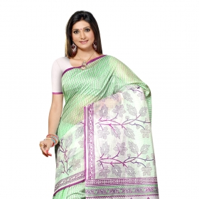White & Light Green Colored Cotton Printed Saree