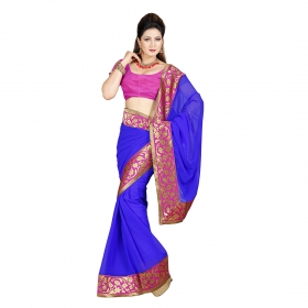 First Loot Blue Color Chiffon Saree