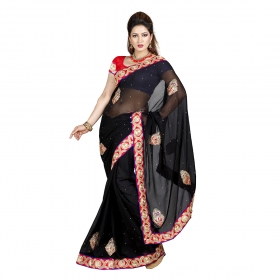 First Loot Black Color Chiffon Saree