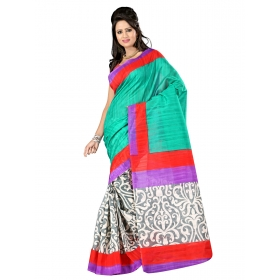 First Loot Printed Multicolor Bhagalpuri Silk Saree