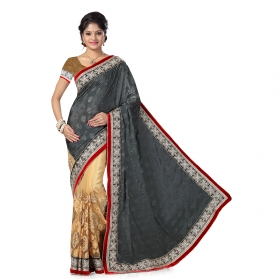 First Loot Grey And Beige Color Chiffon Saree