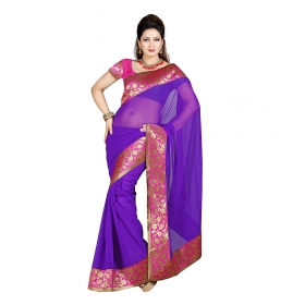 First Loot Purple Color Chiffon Saree