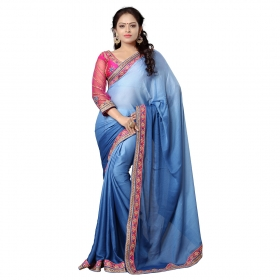Neon Blue Color Embroidered Party Wear Jacquard Saree