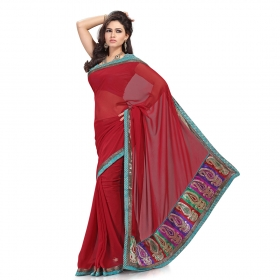 First Loot Maroon Color Faux Georgette Saree