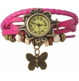 Festival Offer Pink Casual Analog Leather Women Wrist Watch